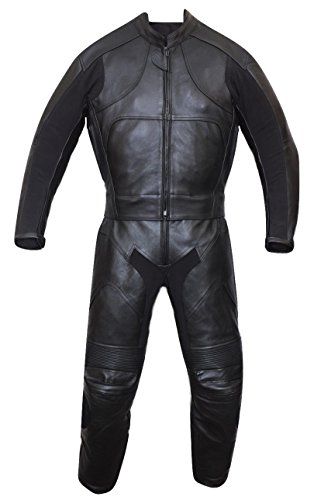 Motorbike Motorcycle New Black Racing Cowhide Leather Suit CE Approved Armors (Large)