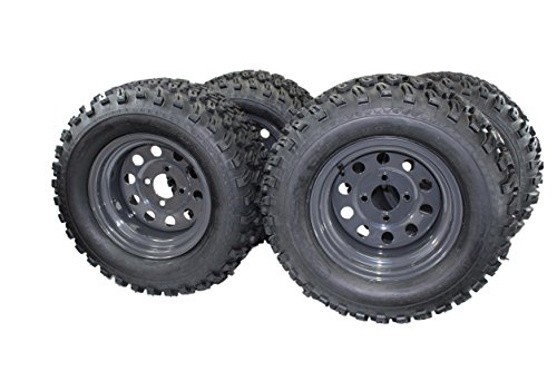 (Set of 4) 23x10.50-12 4 Ply Golf/ATVUTV/RTV Tires & Charcoal Grey Wheels ATW-013