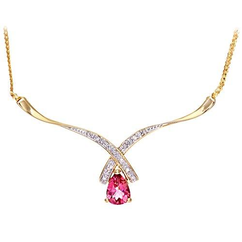 Revoni Bague en or jaune 9carats et diamant collier turme Mesdames Rose