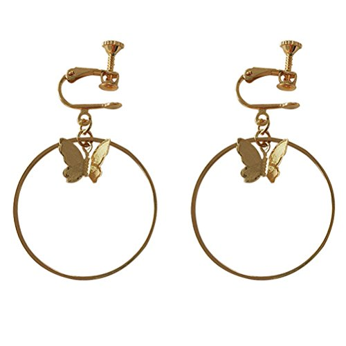 (Screw Back Clip on Earring Clip for non Pierced Dangle Circle Butterfly Gold Plated for Women )