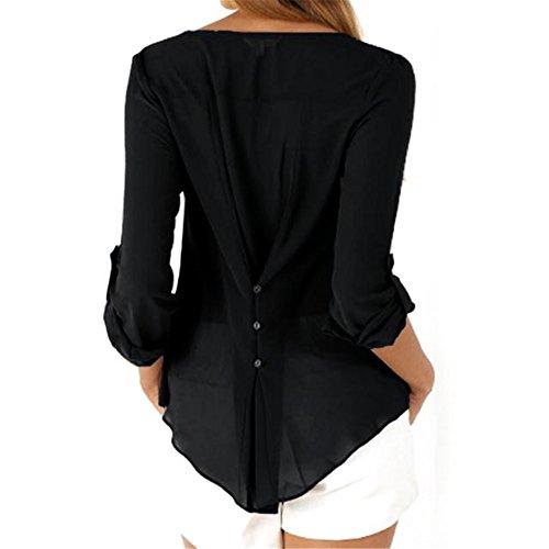 SKY Popular !!! Mujeres La blusa ocasional de la blusa de la manga larga floja de las mujeres remata la blusa de la manera Blouse Shirt Tops S~XXXL Negro