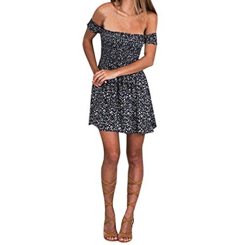 Da Kolylong Vestito Partito Donne Sexy Blu A Caldo Da Spiaggia Le Informale Stampata Fuori Serata Spalla Floreale d60wZxX