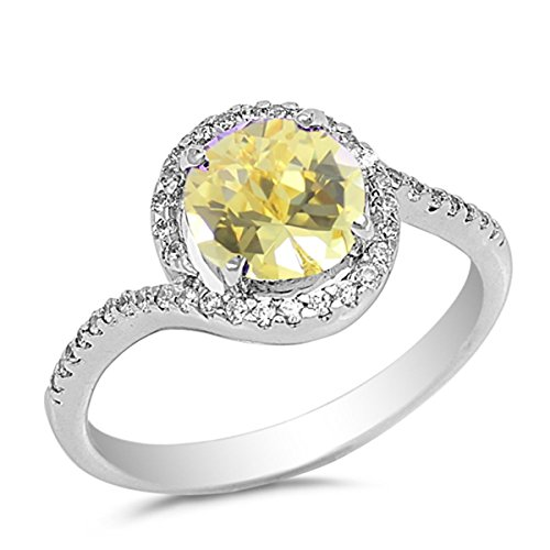 Prime Jewelry Collection Sterling Silver Women's Yellow Cubic Zirconia Micro Pave Halo Round Ring (Sizes 5-10) (Ring Size 6) -