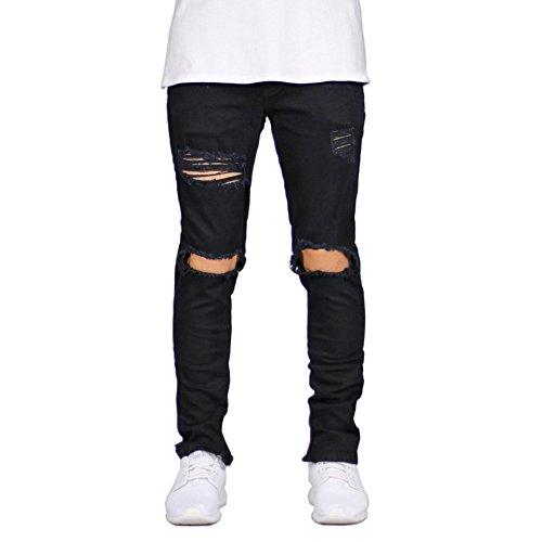 (IA ROD CA Men's Slim Destroyed Ripped Stretch Holes Distressed Skinny Denim Jogger Jeans Black 34)
