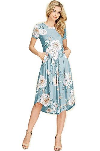 USA Daisies SHOPGLAMLA Sleeves Picking Dress Mid Flared Neck Round Print Pocket Floral Short Aqua Made Hem in OqpOZ0
