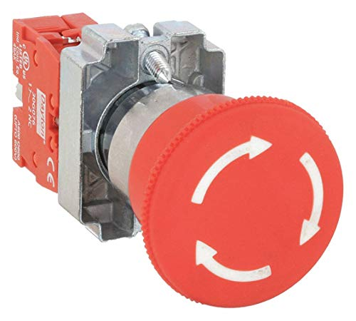 Dayton Emergency Stop Push Button, Type of Operator: 40mm Mushroom Head, Size: 22mm, Action: Maintained Pus