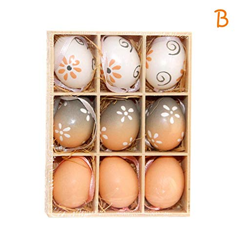 - Futureshine Floral Decorated Hand Painted Easter Egg Home Decor Ornament, 9 Pack