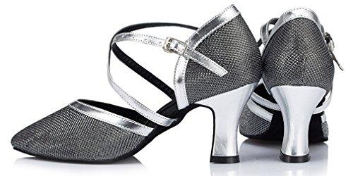 Honeystore Buckle Women's Shoes Dance Metal Strap Criss 02 Cross Grey an6vRr1aq