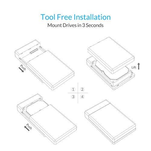ORICO Toolfree USB 3.0 to SATA External 3.5 Hard Drive Enclosure Case for 3.5 SATA HDD and SSD[Support UASP and 8TB Drives] by ORICO (Image #1)
