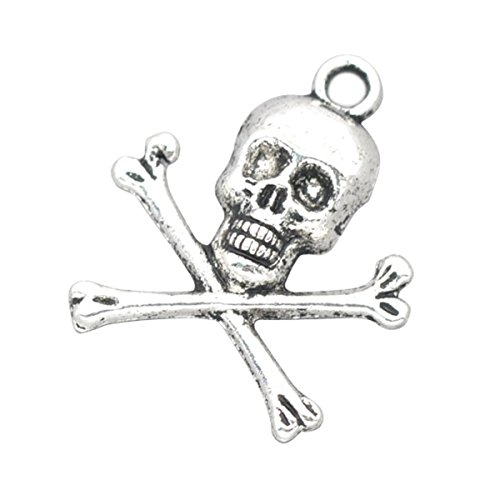 Housweety 30 Silver Tone Halloween Skull Charms Pendants 24x21mm -