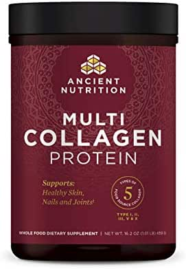 Ancient Nutrition Multi Collagen Protein Powder, Pure Flavored, 5 Types of Food Sourced Collagen Peptides, Supports Joints, Skin and Nails, Made Without Dairy or Gluten, 16.2 oz