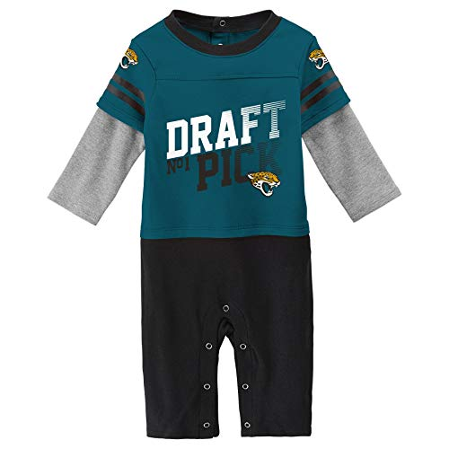 Outerstuff NFL Jacksonville Jaguars Newborn & Infant Draft Pick Long Sleeve Coverall Jag Teal, 3-6 Months (Hooded Baby Jumper)