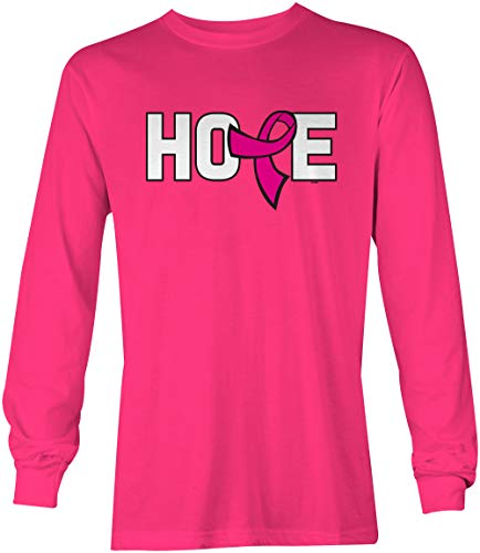 Tcombo Hope Pink Ribbon - Breast Cancer Awareness Unisex Long Sleeve Shirt (Pink, X-Large)