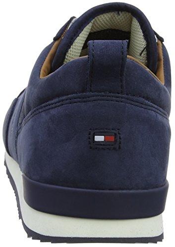 Tommy Hilfiger Herren Iconische Nubuckleder Runner Sneaker Blau (vintage Indigo 014)