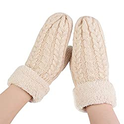 Uribake Women S Knitted Mittens Solid Cashmere Warm Soft Lining Winter Gloves Mittens
