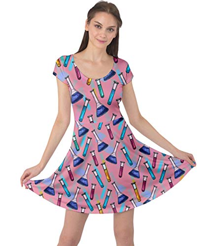CowCow Womens Science Lab Flask Pattern Pink Cap Sleeve Dress - S ()