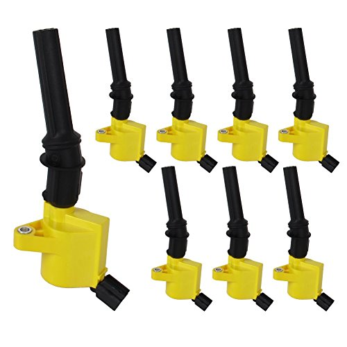 Big-Autoparts High Performance Pack of 8 Curved Boot Ignition Coils For Ford 4.6L 5.4L DG457 FD503 DG508 Mustang Lincoln Mercury and More (Yellow)