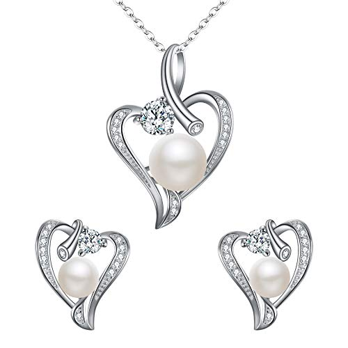 EleQueen 925 Sterling Silver CZ AAA Button Cream Freshwater Cultured Pearl Love Heart Bridal Necklace Earrings Set