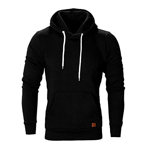 WUAI Men's Lightweight Jacket Hoodie Casual Sweatshirt Slim Fit Solid Color with Front Pocket Outwear Tops(Black,US Size XL = Tag 2XL) ()