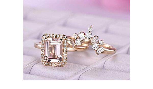 14K White Gold Fn 5 ct Natural Emerald Cut Morganite Thanksgiving Classic Ring