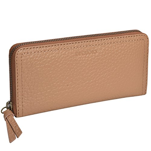 Di Cuoio Womens slim clutch Purse Genuine Leather Wallet Card Holder for Ladies (Camel)