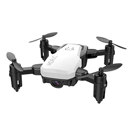 Cinhent Quadcopter Mini D2WH Foldable With Wifi FPV 0.3MP HD Camera, 2.4G 6-Axis RC Drone With Altitude Hold 4 Channels Toys, Good Choice for Drone Training (White) by Cinhent Quadcopter