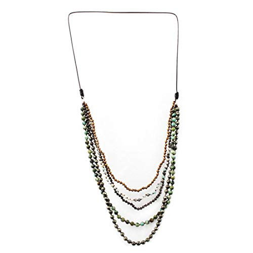 (PLB Five Strands Long Layered Beaded Gemstone Necklace Semi-Precious Stones)
