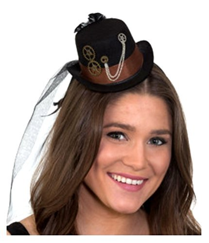 Mini Steampunk Black Top Hat on a Headband Cocktail Veil Women Costume - 1920s Steampunk