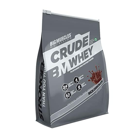 Bigmuscles Nutrition Crude Whey - 1 kg (Rich Chocolate), Whey Protein Concentrate 80%, 24g Protein, 5.5g BCAA, 4 g