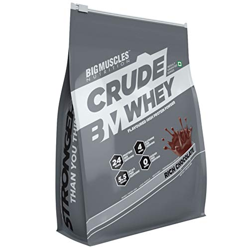 Bigmuscles Nutrition Crude Whey – 1 kg (Rich Chocolate), Whey Protein Concentrate 80%, 24g Protein, 5.5g BCAA, 4 g Glutamine