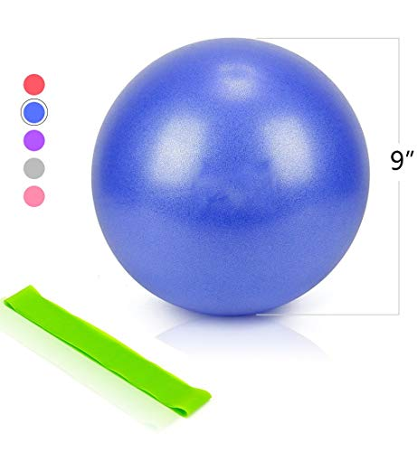 NOE REITON Mini Exercise Ball for Yoga,Home Fitness,Stability,Barre,Pilates,Core Training and Physical Therapy,Balance Training Workout Ball (Blue) ()