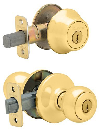 Kwikset 690 Polo Entry Knob and Single Cylinder Deadbolt Combo Pack in Polished Brass