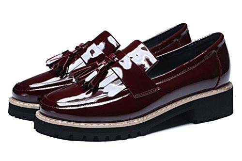 Guciheaven Womens Slip On Walk Chaussures Mocassins En Cuir Verni Rouge