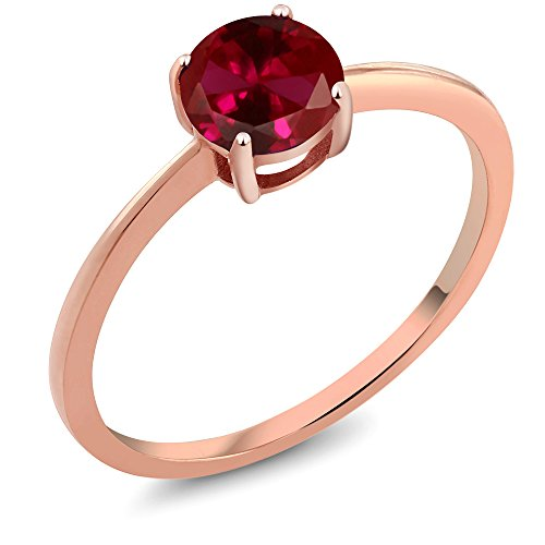 10k Rose Gold Red Created Ruby Rose Gold Women's Solitaire Ring (1.00 Ct Round, Available in size 5, 6, 7, 8, 9)