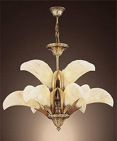 999/C - Lámpara/Semiplafón con 9 tulipas tipo hoja de 17 cm ...