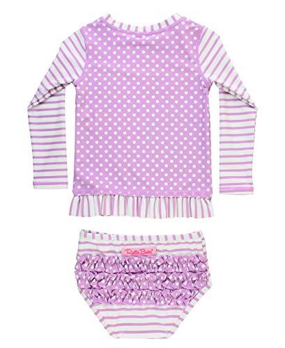 RuffleButts Little Girls Lilac Stripe Polka Long Sleeve Rash Guard Bikini Swimsuit Set - 3T -