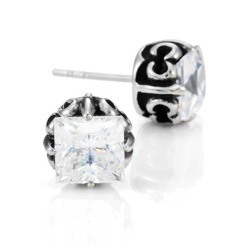 Vintage Men's Stud Earrings Stainless Steel Rectangular Cubic Zirconia,(Silver, Black, Clear CZ) (Gift Baskets Nyc Delivery)