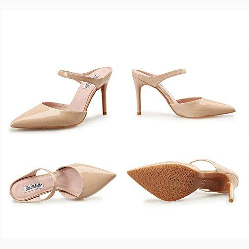 L@YC® Mujeres Zapatillas De Verano Señaló Tacones altos SeñOras Hebilla De Palabra Con Sandalias Brown