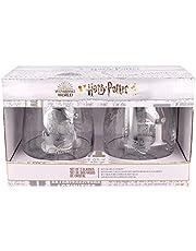 Harry Potter | Set met waterglazen - 2 stuks glas - klassiek glas met gravure voor likeur, cocktails en sap - 510 ml