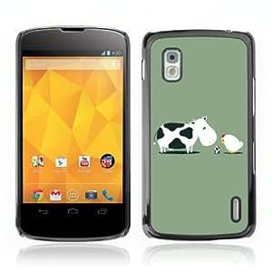 CQ Tech Phone Accessory: Carcasa Trasera Rigida Aluminio para LG Nexus 4 E960 - Cow & Chicken Illustration