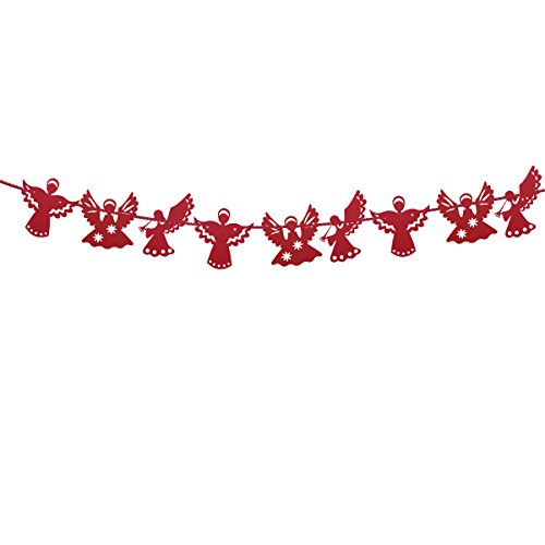OULII Angel Paper Banner Garland Hanging Flag for Christmas New Year Wedding Party Decoration (Red)
