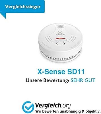 10-Year Battery Fire Alarm Smoke Detector with LED X-Sense Mini Smoke Alarm