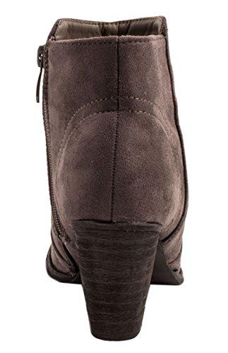 Elara Stiefeletten Wildlederoptik Grau Zipper Ankle Damen New Bequeme Boots FF1wqr45