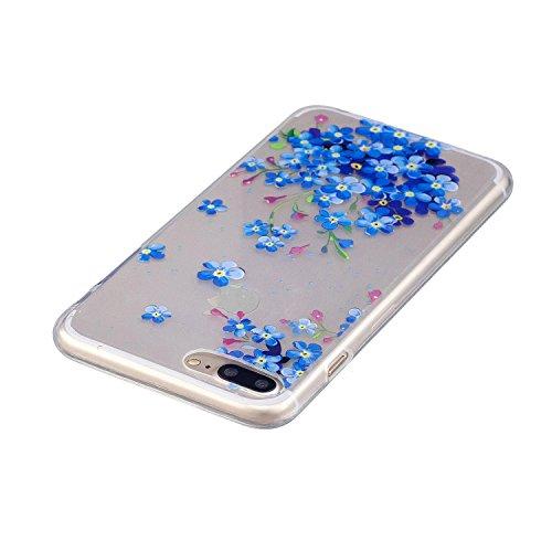 iPhone 8 Plus Hülle,Blaue Blütenblätter Premium Handy Tasche Schutz Transparent Schale Für Apple iPhone 8 Plus + Zwei Geschenk