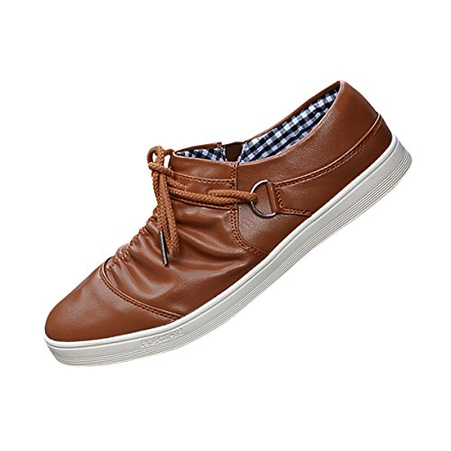 Hee Grand Mens Fashion Casual Lace Up Flat Shoes US 8 Brown