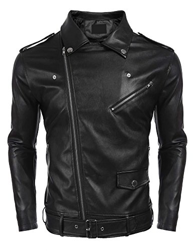 Bulges Men Turn Down Collar PU Leather Full Zip Slim Fit Motorcycle Jacket