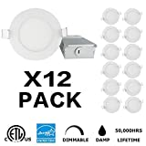 INCARLED 4inch 9W Dimmable LED Recessed Slim Downlight with Junction Box (12pack)