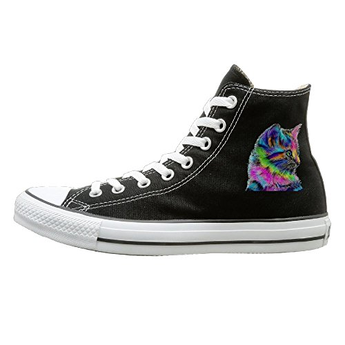 Qiang Adult Rainbow Cat High Top Canvas Shoes Lace Up Sneakers 36 (Halloween Zumba Meme)