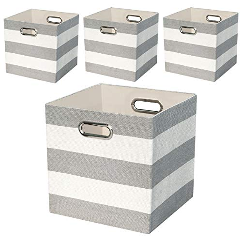 Storage Bins Storage Cubes,11×11 Collapsible Storage Boxes Containers Organizer Baskets for Nursery,Office,Closet,Shelf - 4pcs,Grey-white Striped -