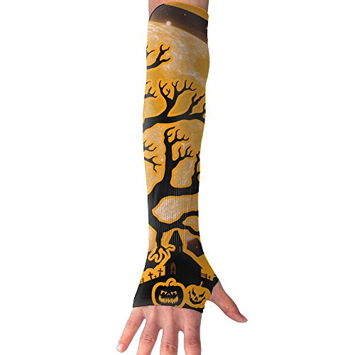 Happy Halloween Pumpkin Bat Long Sleeve Sun Protection Arm Sleeves Arm Cooling Sleeve Cycling Outdoor Sports Leisure Shirt Outdoor Sports (Halloween Pumpkin Cooler Dry Ice)